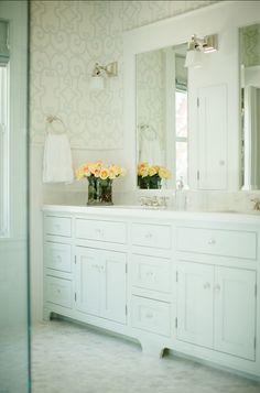 "Bathroom Design. Elegant Bathroom Design. #BathroomDesign #Wallpaper Wallpaper is ""Manor Gate by Schumacher""."
