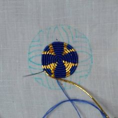 Gold cord, partially wrapped in blue Zardosi Embroidery, Tambour Embroidery, Shirt Embroidery, Embroidery Needles, Gold Embroidery, Cross Stitch Embroidery, Embroidery Patterns, Textiles Techniques, Embroidery Techniques