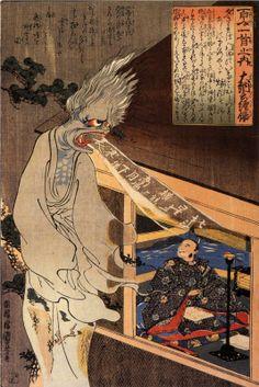 Utagawa Kuniyoshi: The poet Dainagon sees an apparition