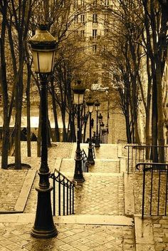 Lantern Stairs, Montmartre, Paris, France                              … …