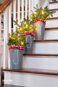 Chalk-Pen-Galvanized-Buckets-for-Christmas.... Front porch