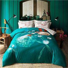 Papa&Mima Dark Green Floral Style Bedding Set 4pcs Queen King Size Bedlinens Four Seasons Duvet Cover Set 100% Cotton