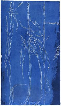 ART & ARTISTS: Helen Frankenthaler - abstract expressionist -  All about blue lithograph, 1994