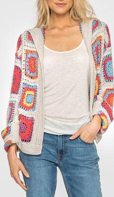 Granny Square Crochet Cardigan Pattern Ideas for Summer or Winter Part crochet - Granny Gilet Crochet, Crochet Cardigan Pattern, Crochet Jacket, Knit Crochet, Crochet Patterns, Crochet Summer, Point Granny Au Crochet, Granny Square Sweater, Square Blanket