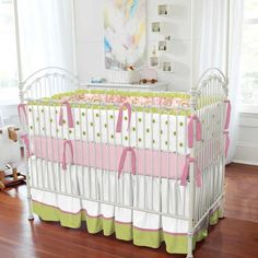 Lime and Pink Paisley Crib Bumper with Ruffle | Carousel Designs