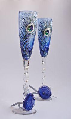 Blue Wedding Champagne Glasses Flutes Hand by NevenaArtGlass, $53.90