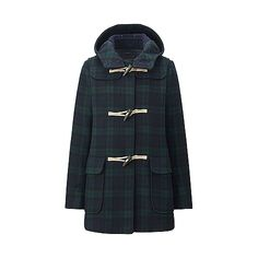 This stylish women's coat is made from an amazing wool blend material that features the warmth and elegant texture of wool, yet is super light. Water- repellent coating means a little rain or snow is no problem. The classic duffel coat design is faithfull Navy Coat, Plaid Coat, Wool Coat, Stylish Winter Coats, Winter Coat Outfits, North Face Rain Jacket, Rain Jacket Women, Raincoats For Women, Outerwear Women