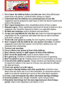 hints to being a step parent...all important...special attention to numbers 6, 11, 16...