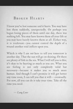 Give yourself time. Thank you for this. I'm sure I'm not the only person to wonder why I had the feelings that lead to the hurt I'm feeling.