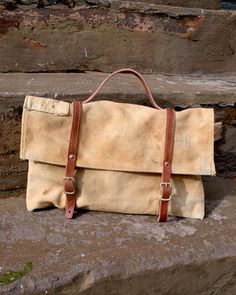 Canvas and leather messenger bag by Stanley & Sons.