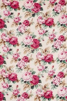 Antique floral fabric with clusters of pink and flowers on a beige background. Flower Backgrounds, Flower Wallpaper, Pattern Wallpaper, Wallpaper Backgrounds, Iphone Wallpaper, Vintage Floral Backgrounds, Wallpaper Art, Decoupage Vintage, Vintage Paper