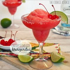 Cherry Limeade Margaritas, These are perfect for Cinco De Mayo! - The Cookie Rookie (frozen alcoholic beverages blenders) Margarita Recipe Frozen Limeade, Margarita Recipes, Cocktail Recipes, Frozen Margaritas, Margarita Punch, Drink Recipes, Yummy Recipes, Refreshing Drinks, Summer Drinks