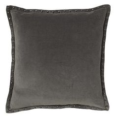 "Studded Velvet Pillow Cover - Iron (20"" Sq.)"