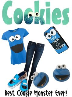 """cookie monster"" by jade-louise-1 ❤ liked on Polyvore"