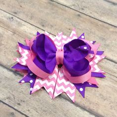 Purple and pink hair bow - Hairbow , hair clip bow, girls hair bow - stacked…