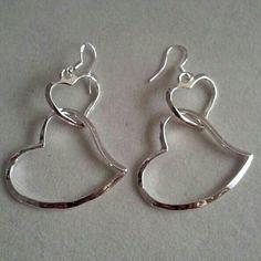Pretty double heart sterling silver earrings Stamp on hook of earrings Jewelry Earrings