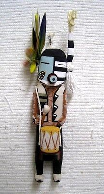 "Hopi Carved 10.5"" Old Style 1/2 Harvester 1/2 Clown Kachina Doll by Shawn Deel"