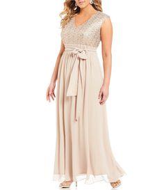Jessica Howard Plus Surplice Bodice Gown #Dillards
