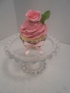 Shabby Chic Rose Faux Cupcake Ornament / by SweetCreationsbyJodi, $9.95 Fake Cupcakes, Fake Cake, Cupcake Cakes, Decoden, Fancy Cakes, Edible Art, Display Ideas, Candies, Cake Pops
