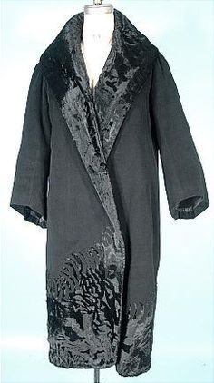Wrap Coat, (Numbered) Beer Couture, 7 Place Vendome, Paris: ca. 1925, wool, cut velvet, lined in silk.