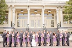 Maryland Zoo Wedding — East Made Event Company and Meghan Rose Photography. Large bridal party photo, purple bridesmaids, grey groomsmen, purple wedding.