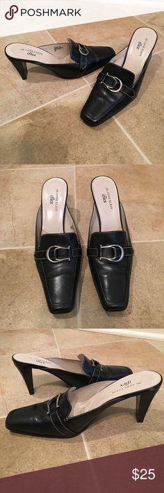 AK ANNE KLEIN iflex Slip on Heel  AK ANNE KLEIN iflex Slip on heel, Size 9, Black with silver buckle, Excellent condition!! AK ANNE KLEIN Shoes Heels