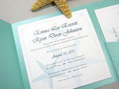 Beach Wedding Invitation Pocketfold Custom Teal by essentialimages, $4.90