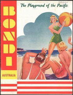 Bondi Australia, the playgroud of the Pacific , State Records NSW Bondi Australia, Australia Tourism, Vintage Italian Posters, Vintage Travel Posters, Vintage Airline, Posters Australia, Australia Pictures, Australian Vintage, Tourism Poster