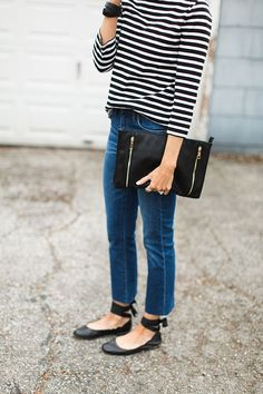 Stripes and Ballet Flats. Everyday style. Street style. Mom style. Modest fashion.