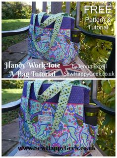 Take it to work tote bag - FREE pattern & tutorial - Sew Modern Bags : Free tote purse sewing pattern and step by step photo tutorial. Great step by step photos for how to sew this easy bag which you can use to take your lunch to work. Bag Patterns To Sew, Sewing Patterns Free, Free Sewing, Free Pattern, Diaper Bag Patterns, Handbag Patterns, Sewing Hacks, Sewing Tutorials, Sewing Tips