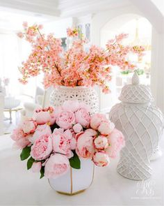 Spring Home Tour + Styling Tips you will Love - Randi Garrett Design pink cherry blossoms faux - fau