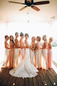 """A little bit sassy, cute, and lively, the """"turn-around"""" pose offers a fresh take on the classic bridesmaid stance."""