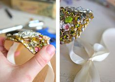 Tutorial for using vintage costume jewerly to make a cuff bracelet.