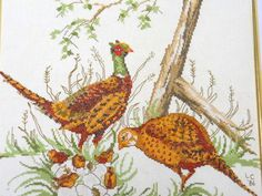 Completely finished with frame is this great Needlepoint of Pheasants!  Warm colors, expertly done.  Great gift this year for someone on your list?