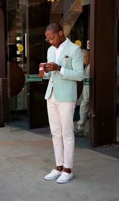 For a casually neat ensemble, go for a mint vertical striped blazer and beige chinos — these items fit beautifully together. You can take a more relaxed approach with shoes and introduce a pair of beige low top sneakers to the equation. Mint Blazer, Striped Blazer, Mint Pants, Summer Blazer, Green Blazer, Striped Jacket, Blazer Jacket, Gentleman Mode, Gentleman Style