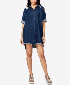 Rachel Rachel Roy Ripped Denim Shirtdress, Only at Macy's