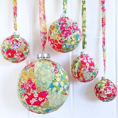 Liberty Christmas Baubles - a fantastic Christmas crafting project. Use you scrap Liberty fabrics to make these gorgeous baubles for your tree. Diy Christmas Baubles, Fabric Christmas Decorations, Homemade Christmas Tree, Fabric Ornaments, Christmas Makes, Simple Christmas, All Things Christmas, Fabric Christmas Trees, Handmade Ornaments