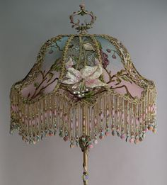 Victorian lampshade with roses and antique lace beautiful lamps lily dragonfly beaded antique victorian lampshade from nightshades detail aloadofball Gallery