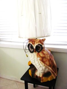 Large 1970s Vintage Owl Lamp Two Availble With or by OohRILEYhoO Lamp Redo, Owl Lamp, Ceramic Light, Vintage Owl, Owls, 1970s, Hand Painted, Ceramics, Moose