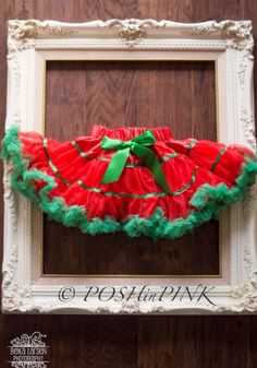 A personal favorite from my Etsy shop https://www.etsy.com/listing/245081061/red-and-green-ribbon-chiffon-pettiskirt