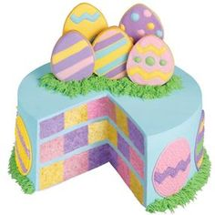 Pastel Pastures Checkerboard Cake What a lovely dessert to set on your Easter table. Egg cookies decorated with complementary spring colors set atop a checkerboard cake trimmed with pull-out grass. Easter Cupcakes, Easter Cookies, Easter Treats, Easter Food, Rose Icing, Checkerboard Cake, Frosting Colors, No Egg Cookies, Novelty Birthday Cakes