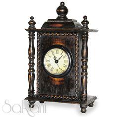 Orologio antico legno scuro da tavolo numeri romani - Orologio da tavolo antico ...