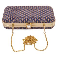 Beautiful Embroidered Blue Box Clutch With Long Metal Sling Perfect For Xmas Eve #ArishaKreationCo
