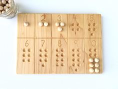 Wooden Number Counting Tracing Board Waldorf Montessori School Toy by FromJennifer on Etsy https://www.etsy.com/listing/453413462/wooden-number-counting-tracing-board