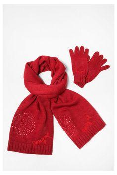 Rode sjaal met handschoenen - Pack Basic | Desigual.com