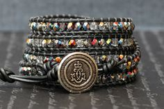 wrap bracelet - pewter leather and clear iridescent crystal - grey gray silver
