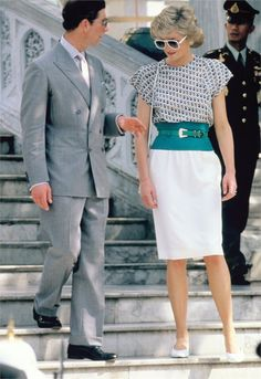 """lovelydianaprincessofwales: """" Prince Charles and Princess Diana during a royal visit in Bangkok in 1989. """""""