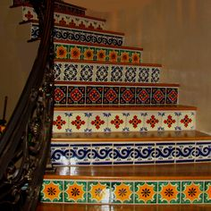 The most beautiful Talavera tile Mexican staircase!