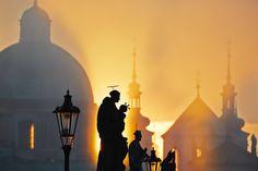 Autumn morning - Statues on Charles Bridge, Prague, Czech Republic Prague Photos, Charles Bridge, Heart Of Europe, Autumn Morning, Czech Republic, Old Town, Travel Photography, Scenery, Old Things