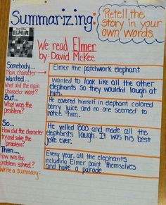 Summarizing - Anchor Chart - Grade Think Aloud Lesson - Elmer by David McKee - Credit to K. Hamner Somebody wanted but so then Summarizing Anchor Chart, Summary Anchor Chart, Ela Anchor Charts, Summarizing Activities, Writing Activities, Reading Is Thinking, 5th Grade Reading, Guided Reading, Guided Math